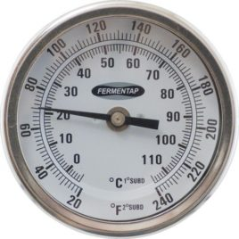 Fermentap Thermometer 3″ Face x 2.5″ Probe Range 20/240